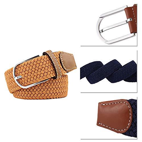 Cintura Moda Per In Uomo Elastica Bozevon Casuale Giallo Donna E Pelle Fibbia Intrecciata dUtTPxwq