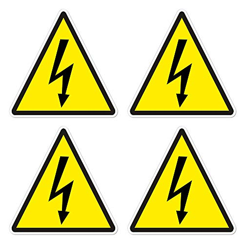 dealzEpic - Yellow Triangle Electrical Shock Hazard Risk Warning Sign - Self Adhesive Peel and Stick Vinyl Sticker - 3.94 x 3.94 inches | Pack of 4 Pcs