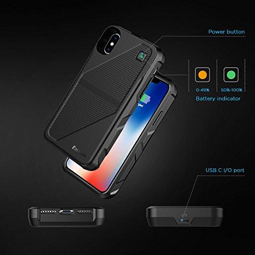 EasyAcc Wireless Battery Case for iPhone X, 5000 mAh Extended Battery Charger Case for iPhone 10 - Black by EasyAcc (Image #4)