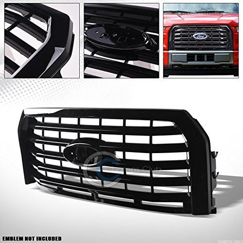 S T Racing Glossy Black Finished Oe Horizontal Front Hood Bumper Grill Grille Cover For 2015 2017 Ford F150
