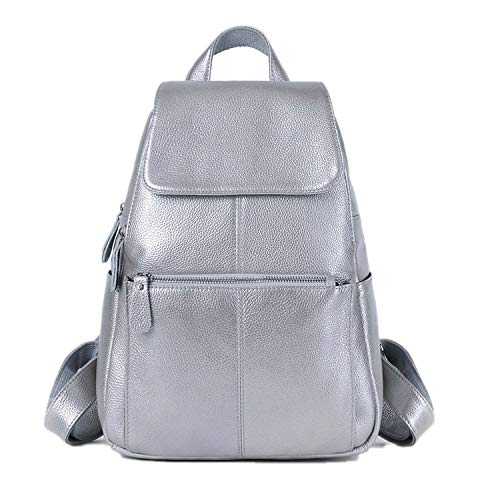 13 Colors Backpack Genuine Leather Top Layer Cowhide Women Female First Layer Cow Leather School style Backpacks,Silver,Russian Federation