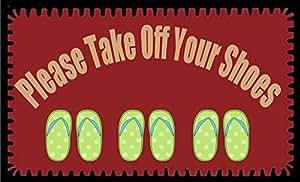 anfGreenqb Please Take Off Your Shoes Felpudo de tela no tejida personalizado de 60 x 40 cm (pequeño)