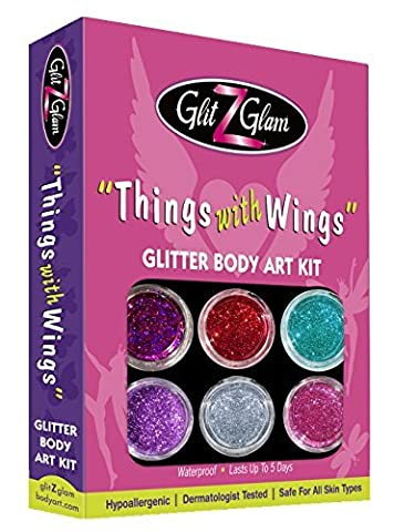 Glitter Tattoo Kit THINGS WITH WINGS - HYPOALLERGENIC and DERMATOLOGIST TESTED! - with 6 Large Glitters & 12 Stencils for Temporary Tattoos
