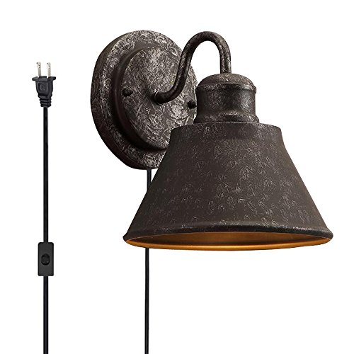 rial Black UL Plug 1.8m Switch Button Wire Wall Sconce E26 Wrought Iron Wall Lamp Bulb Not Included[BD0365] (Vintage Button Wire)