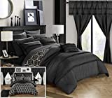 Chic Home CS0747-AN 20 Piece Adina Complete Bed Room In A Bag Super Set Pinch Pleated Design Reversible Geometric Pattern Comforter Set, Sheet, Window Treatments And Decorative Pillows, Queen, Black