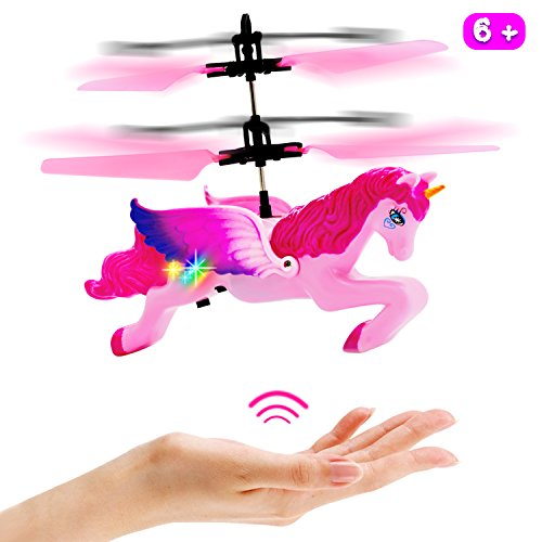 Flying Helicopter Remote (Unicorn Toys Gifts for Girls 6 Years Old,RC Flying Fairy Toy Pink Mini Remote and Hand Controlled Unicorn Helicopter Doll for Birthday)