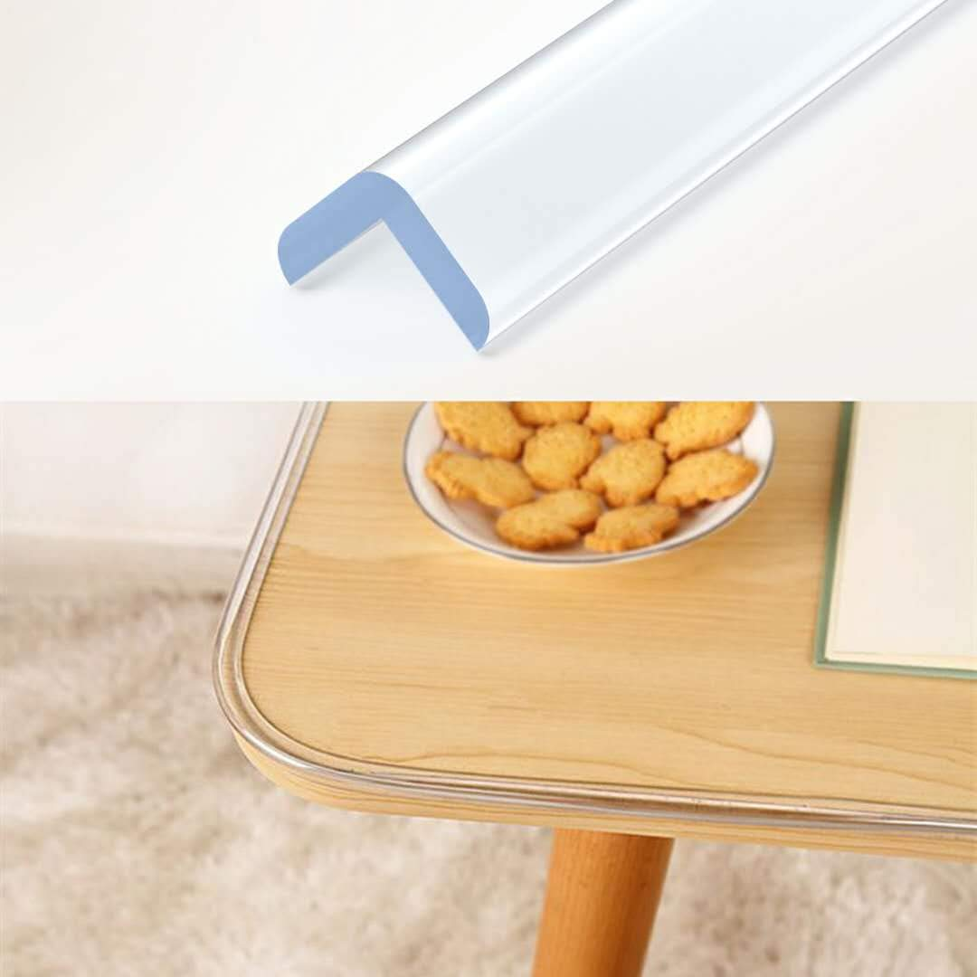 Wemk Transparent Table Edge Furniture Guard Corner Protectors Bumper Strip 1 Rolls 20ft(6.1m) with Double-Sided Mounting Tape for Cabinets, Drawers, Tables, Household Appliances etc by Wemk