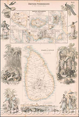 (Historic Map | British Possessions in the Indian Seas. (Sri Lanka, Singapore, Penang, Malacca, Labouan, etc, 1865, Archibald Fullarton & Co. | Vintage Wall Art 30in x 44in)