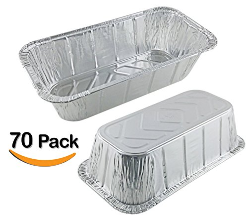 70 Pack 2LB - Loaf Pans - Bread Pans l Disposable Aluminum Loaf Pans, Aluminum Bread Pans l For Homemade Cakes and Breads, Meatloaf - Standard Size, 2 Pounds - 8.5