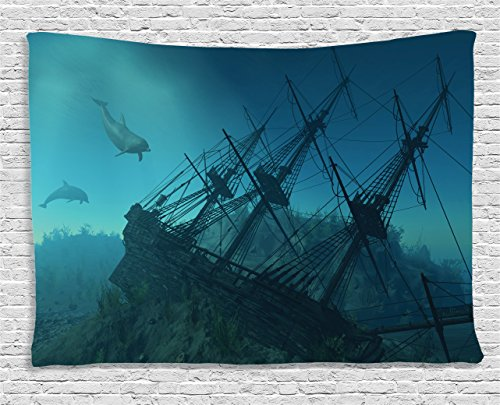 Tapestry Nautical Ambesonne Shipwreck Underwater product image