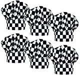 LilMents 6 Pack Chef Hat Set Elastic Baker Kitchen Catering Cooking Chefs Hats (Checkered)