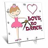 3dRose RinaPiro - Kids - I love to dance. Little girl. Heart. Pink. - 6x6 Desk Clock (dc_266061_1)