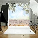 Dirance Photo Backdrops 3x5ft, Wood Wall Floor Flower Photo Backgrounds for Photo Studio Weddings Party (A)