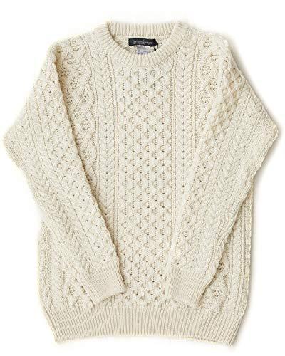 (Irish Fisherman Sweater Aran Knit Natural 100% Wool Made in Ireland X-Large)