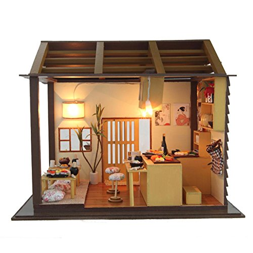 Briskreen DIY Dollhouse Kit Miniature with Furniture Japan Sushi Restaurant Wooden Dollhouse with Led LightCreative Room Perfect DIY Gift for Friends,Lovers and Families Without Dustproof Cover