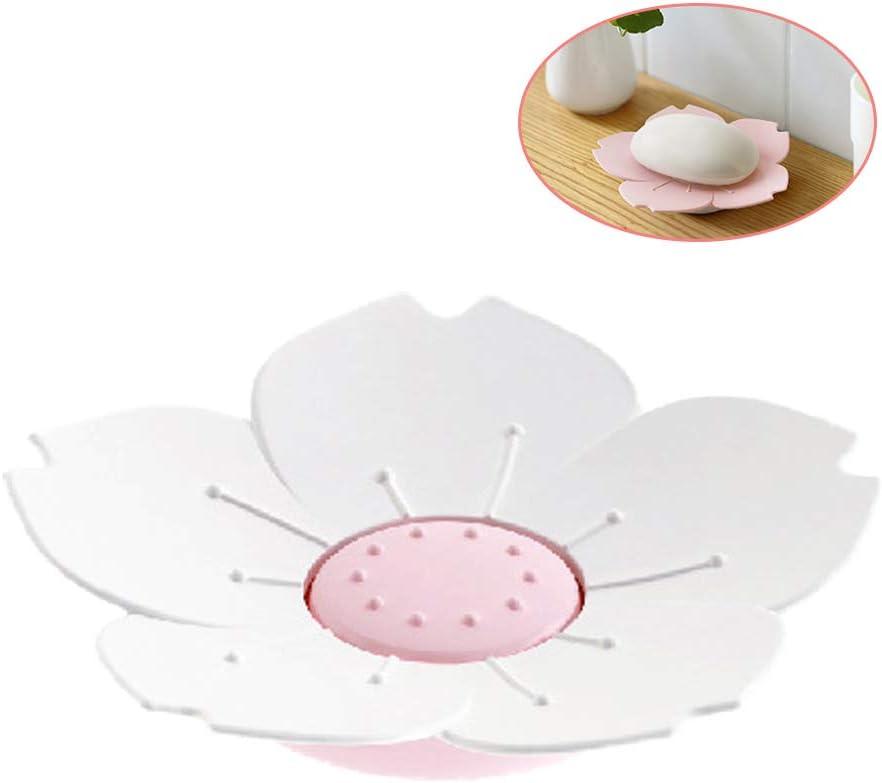 Andiker cucina portasapone decorativo Portasapone a forma di fiori di ciliegio con drenaggio portasapone per bagno doppio strato 2 colori bianco