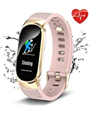QWMoonRu Upgrade Waterproof Fitness Tracker with Heart Rate Monitor Blood Pressure Blood Oxygen, Color Screen Activity Tracker Watch with Pedometer Sleep Monitor Smart Watch for Men Women and Kids