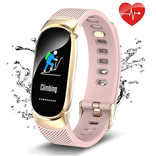 QWMoonRu Upgrade Fitness Tracker HR, Waterproof Heart Rate Monitor Blood Pressure Blood Oxygen, Color Screen Activity Tracker Watch with Pedometer Sleep Monitor Smart Watch for Women and Kids -Pink