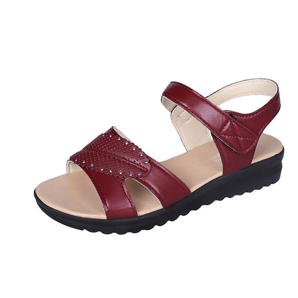 2019 New Women's Retro Mother Sandals Flat Bottomed Causal Comfortable Sandals Non-Slip Beach Flat with Round Toe Shoes (Red, 6)