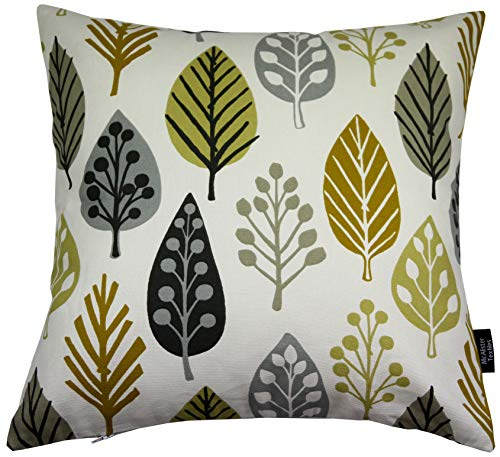 McAlister Textiles Magda Pillow Case | Ochre Yellow & Grey Scandinavian Pattern Leaf Design 100% Cotton Designer Throw Couch Cushion for Bedroom Sofa Living Room | Accessory - 16 x 16 Inches