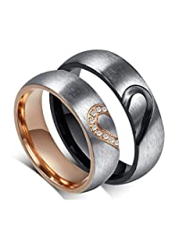 ROWAG 6MM Men Heart Shape Titanium Stainless Steel Couple Rings for Him and Her Women Cubic Zirconia CZ Inlaid Wedding Promise Engagement Bands