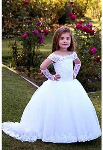 b6bf28e4cc9 TriumphDress Big Girls White Off-Shoulder Tulle Todi Flower Girl Dress 8 10
