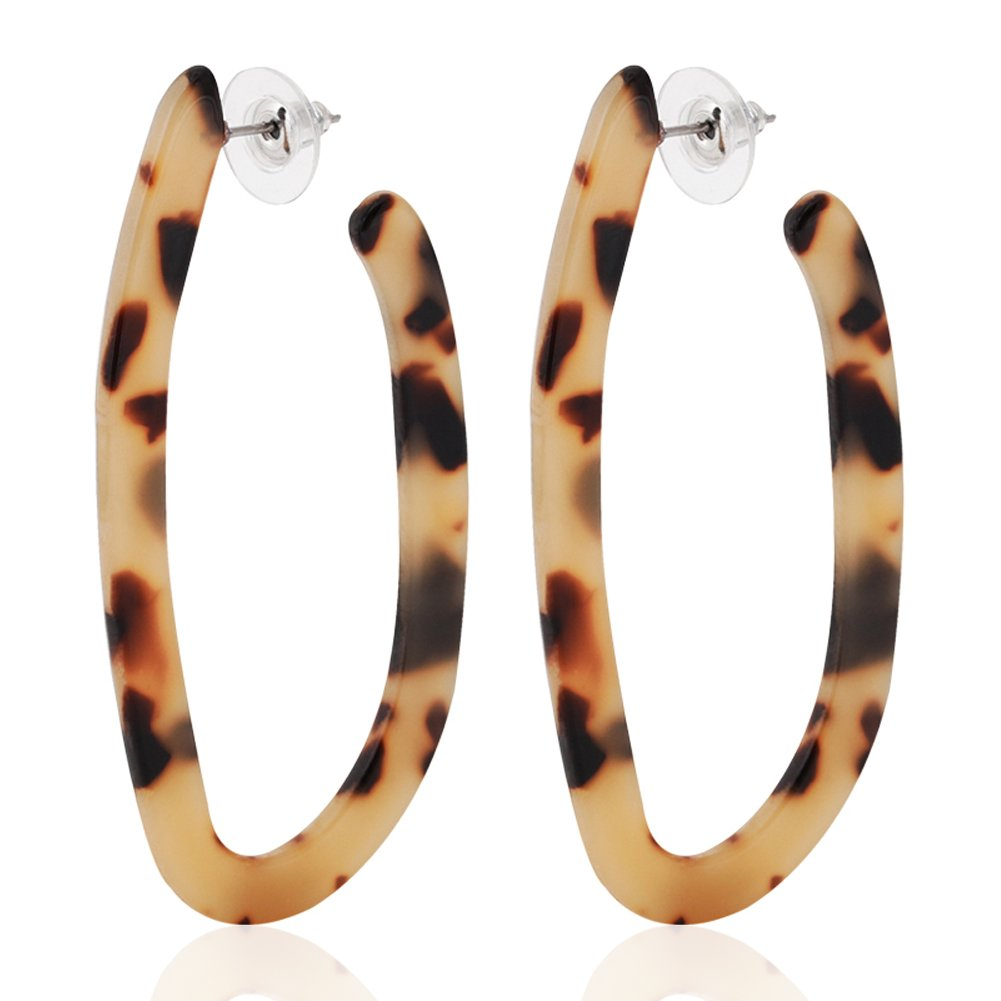 243e8fe40 ALEXY Women's Mottled Hoop Earrings Bohemia Acrylic Resin Hoops Stud  Earrings