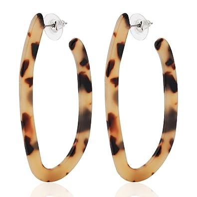 aa10a4566 ALEXY Women's Mottled Hoop Earrings Bohemia Acrylic Resin Hoops Stud  Earrings