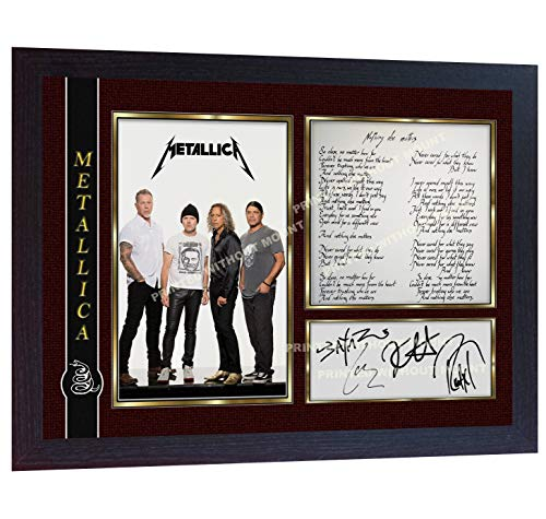 S&E DESING Metallica James Hetfield Nothing Else Matters Signed Print Photo Autographed Poster Music Framed