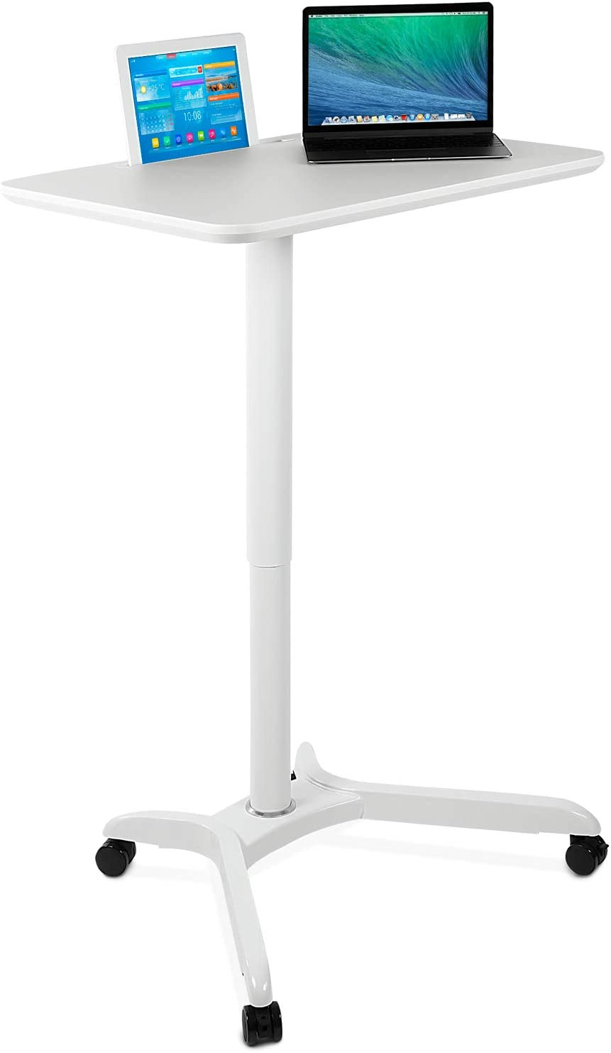 Mount It Standing Mobile Laptop Cart Sit Stand Rolling Desk With Height Adjustable 31 1 X 20 5 Platform Supports Up To 17 6 Lbs White Office Products