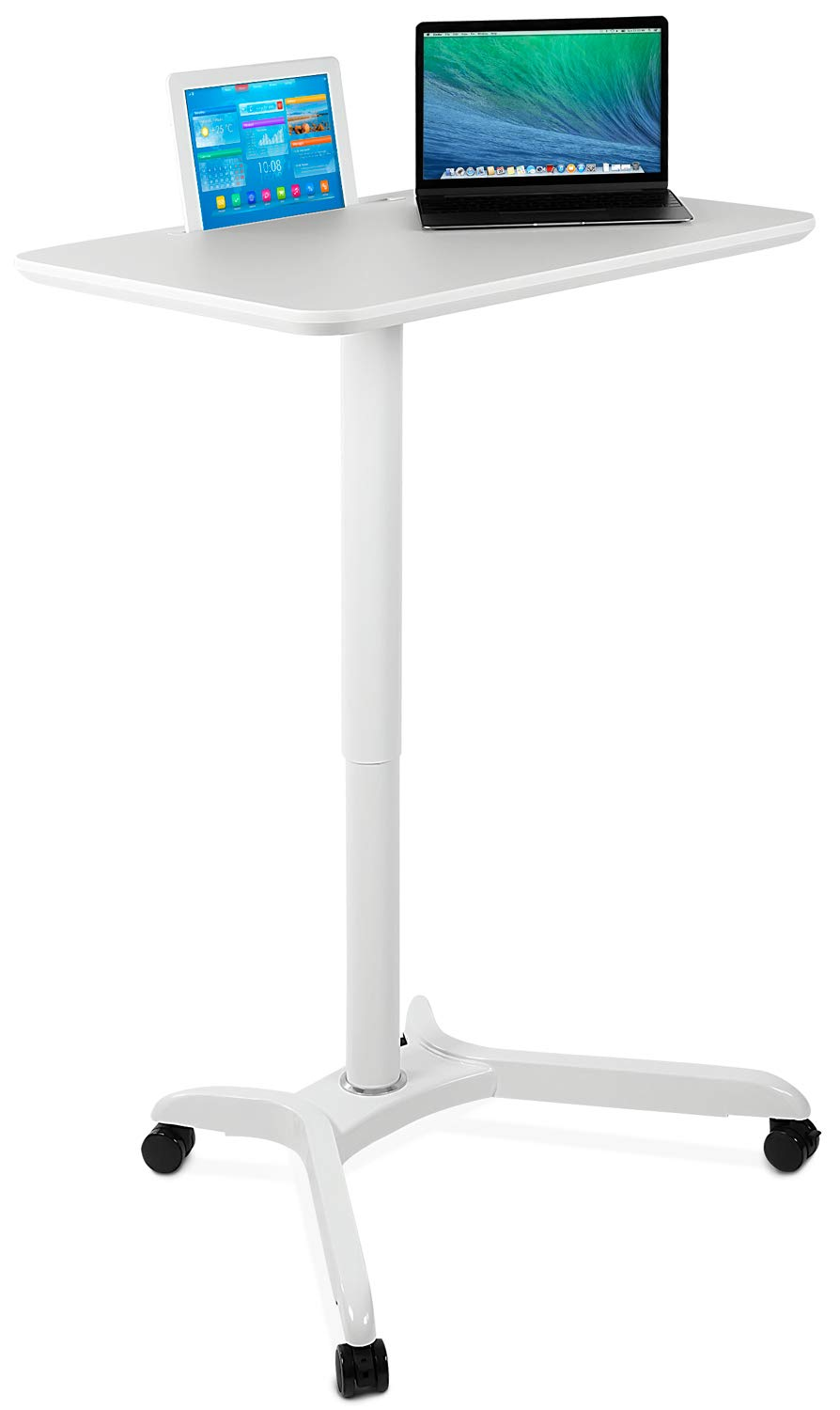Mount-It! Standing Mobile Laptop Cart, Sit Stand Rolling Desk with Height Adjustable 31.1'' x 20.5'' Platform, Supports up to 17.6 lbs, White