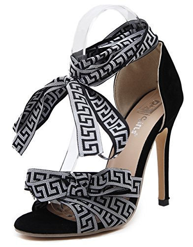 Sandals Easemax Womens Self Tie Sexy High Fabric Heel Stiletto Contrasting Color Straps Black qCrpdPqf