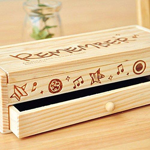 Cute Double Layer Wooden Pen Box School Pencil Case DIY Small Blackboard Stationery Drawer Wooden Storage Box
