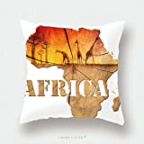 Custom Satin Pillowcase Protector Africa Map Wooden Illustration Africa Map With Wood Texture And Colorful Landscape Of Fantasy 146596403 Pillow Case Covers Decorative
