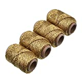 BBTO 4 Pack Metallic Gold Bakers Twine, 87.5 Yard in Total, Decorative Gold Cooper String Solid Gold Art Twine for DIY Crafts and Gift Wrapping