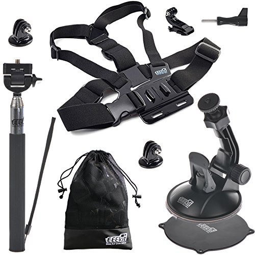EEEKit 3 in 1 Starter Kit for GoPro Hero 5 4 3+ 3 2 Black Session,SJCAM SJ4000/5000,Chest Mount Harness and Selfie Stick Pole/Car Suction Cup Mount