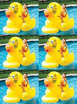 6) Swimline 9062 Inflatable Swimming Pool Giant Ducky Ride-On Floating Toy Rafts