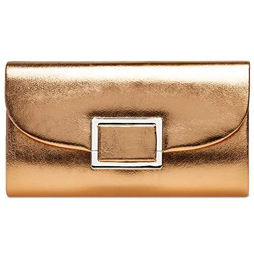 Ta512 Metalizado Rosa Oro Metal Mujer Mano De Caspar Para Cuadrado Bolso Con dPxdU