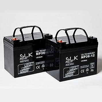 Par de baterías de gel AGM para scooter, 12 V x 33 Ah, 36 Ah, 40 Ah, 50 Ah, 55 Ah, 75 Ah, color negro
