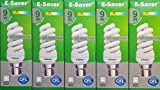 Pack of 5, E-Saver CFL Full Spiral, 9w = 50 watt, Warm White 2700k, Compact Fluorescent Lamp, Bayonet Cap (BC, B22, B22d) 440 Lumen, T2, 80%-85% Energy Saving Light Bulb, Flicker Free, 10,000 Hours Life Time