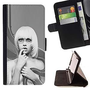 For HTC DESIRE 816 - Abstract Blonde Woman /Funda de piel cubierta de la carpeta Foilo con cierre magn???¡¯????tico/ - Super Marley Shop -