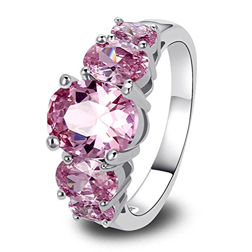 Pink Ring (Psiroy 925 Sterling Silver Created Pink Topaz Filled 5 Stone Engagement Ring Band)