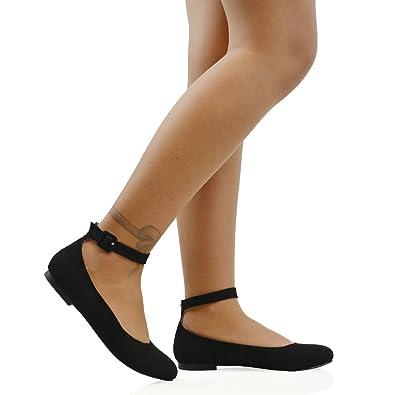 ESSEX GLAM Womens Black Faux Suede Ankle Strap Bridal Ballerina Pumps 10 B(M)