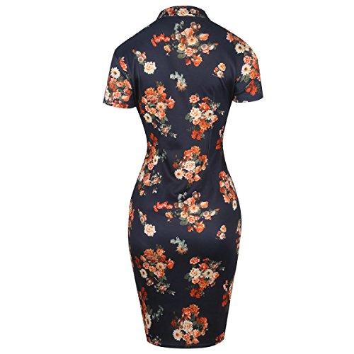 La Sra Impresión Vestido De Cuello Del Cheongsam De Soporte Elástico Multicolor De Varios Tamaños Blue
