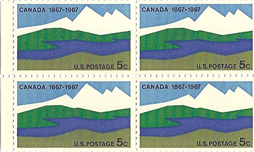 1966 (Canada 100 Years) 5 Cent US Postage Stamp Block Of 4 MNH Scott #1324