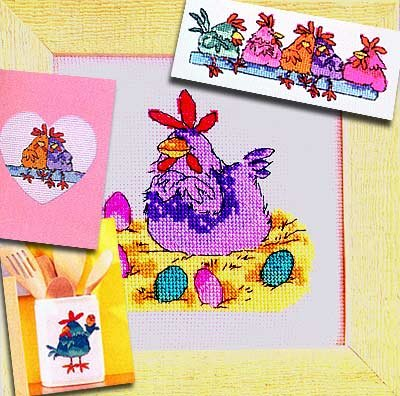 we are hens cross stitch kits, 14ct, 4 patterns Egypt cotton thread 8030stitch,3415 cm cross stitch kits - 3415 Kit