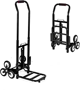 TUFFIOM Stair Climbing Cart 330lbs Bearing, Heavy Duty Folding Trolley for Upstairs Cargo Furniture Transportation, Portable Hand Truck, Rubber Tri-Wheels & Thickened Tube & Anti-Scratching Mat