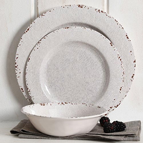 Studio California Mauna 12 Piece Melamine Dinnerware Set, Ice