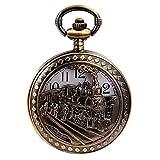 Skeleton Men's Steam Train Copper Dangle Quartz Pocket Watch + Chain
