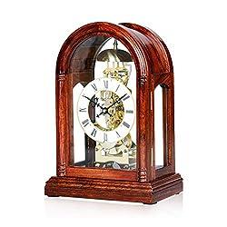 XZ max ^Desk Clock Desk Clock, Mechanical Solid Wood Clock, Creative Living Room Table Clock, European Retro Sitting Clock, Living Room Clock Decoration - Rosewood Bracket Clock